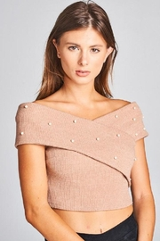 A Peach Crop Pearl Sweater Top - Front cropped