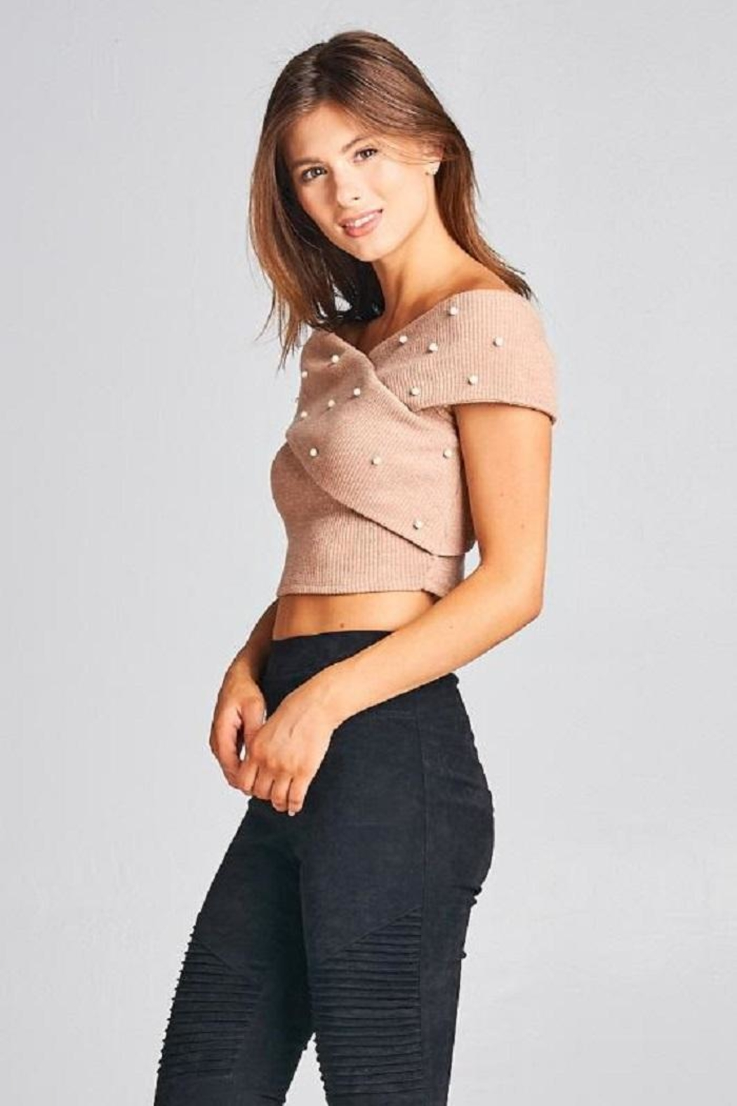 A Peach Crop Pearl Sweater Top - Side Cropped Image
