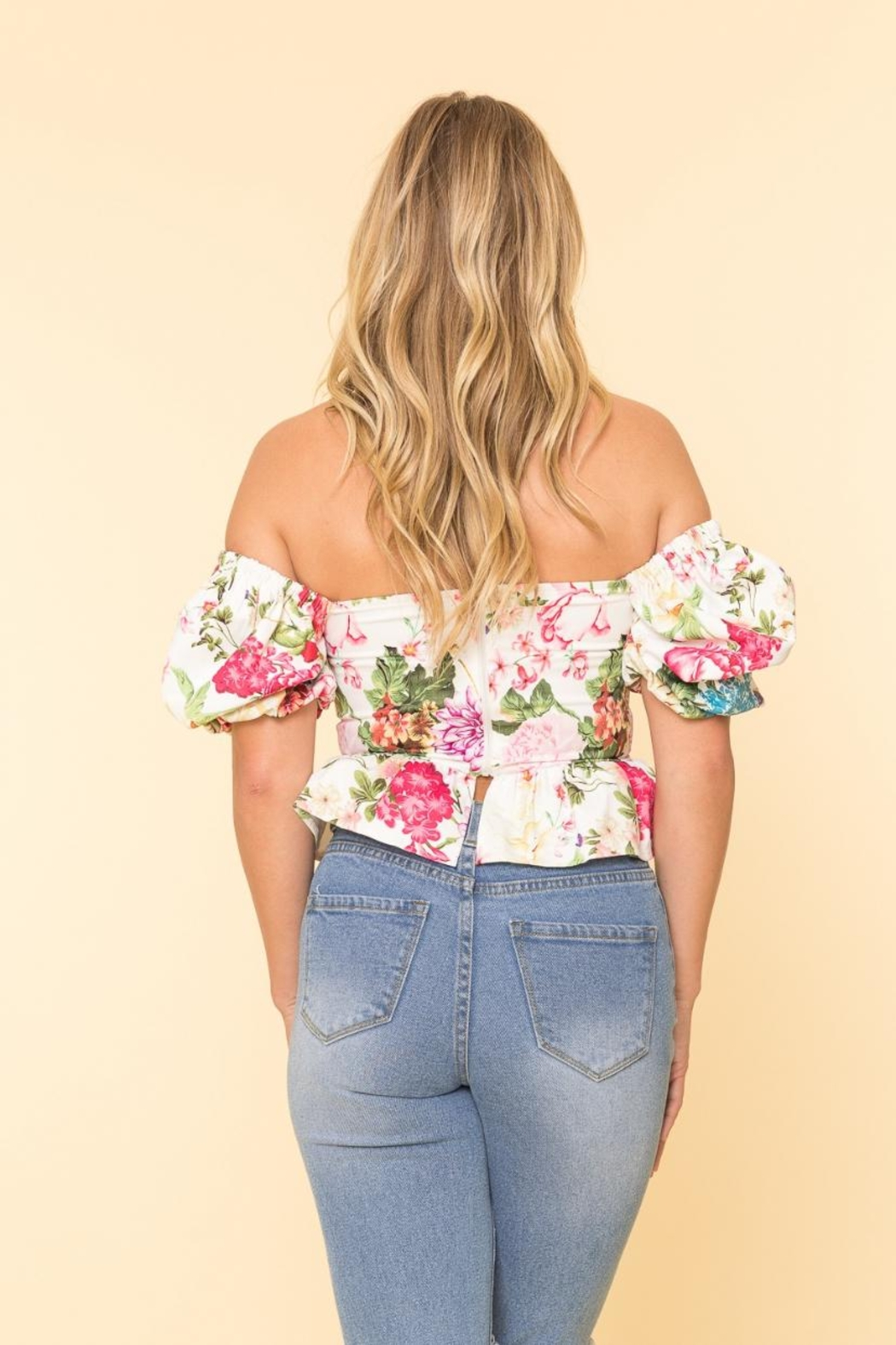 A Peach Floral Corset Top - Side Cropped Image