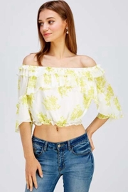 A Peach Floral Crop Top - Front full body