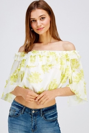 A Peach Floral Crop Top - Side cropped