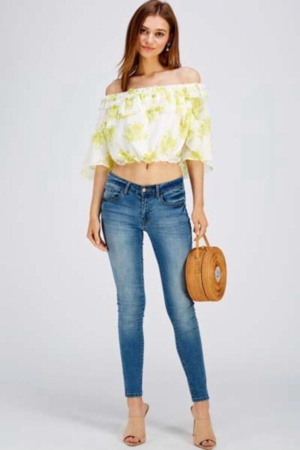 A Peach Floral Crop Top - Front Cropped Image