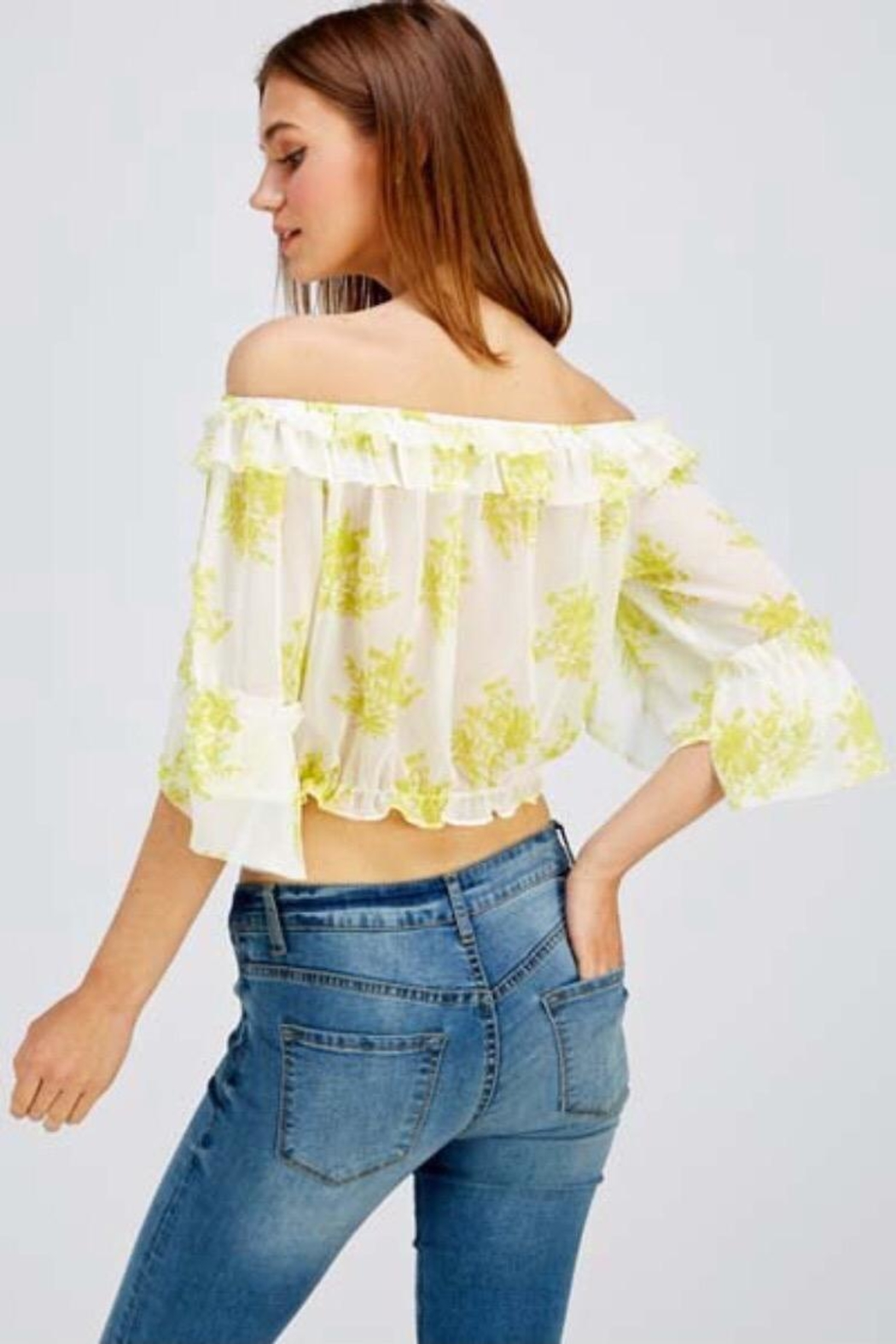 A Peach Floral Crop Top - Back Cropped Image