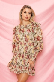 A Peach Floral Mini Dress - Front cropped