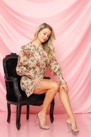 A Peach Floral Mini Dress - Front full body