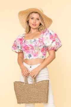 A Peach Floral Puff-Sleeve Top - Product List Image