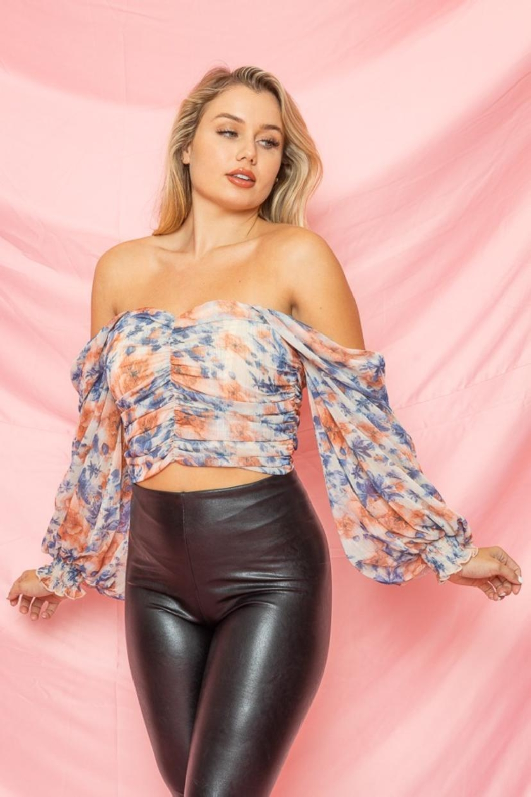 A Peach Floral Ruched Top - Main Image