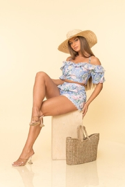 A Peach Floral Shorts Set - Front full body