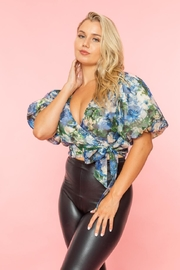 A Peach Floral Wrap Top - Product Mini Image