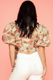 A Peach Floral Wrap Top - Side cropped