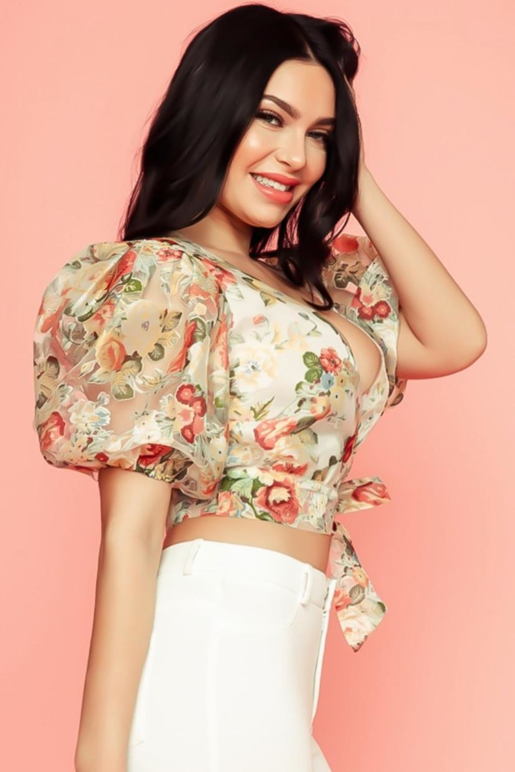A Peach Floral Wrap Top - Front Full Image