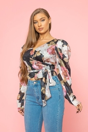A Peach Floral Wrap Top - Front cropped
