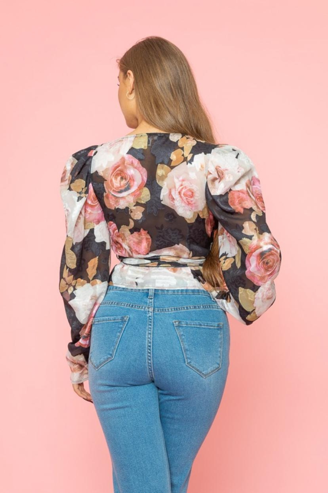 A Peach Floral Wrap Top - Side Cropped Image