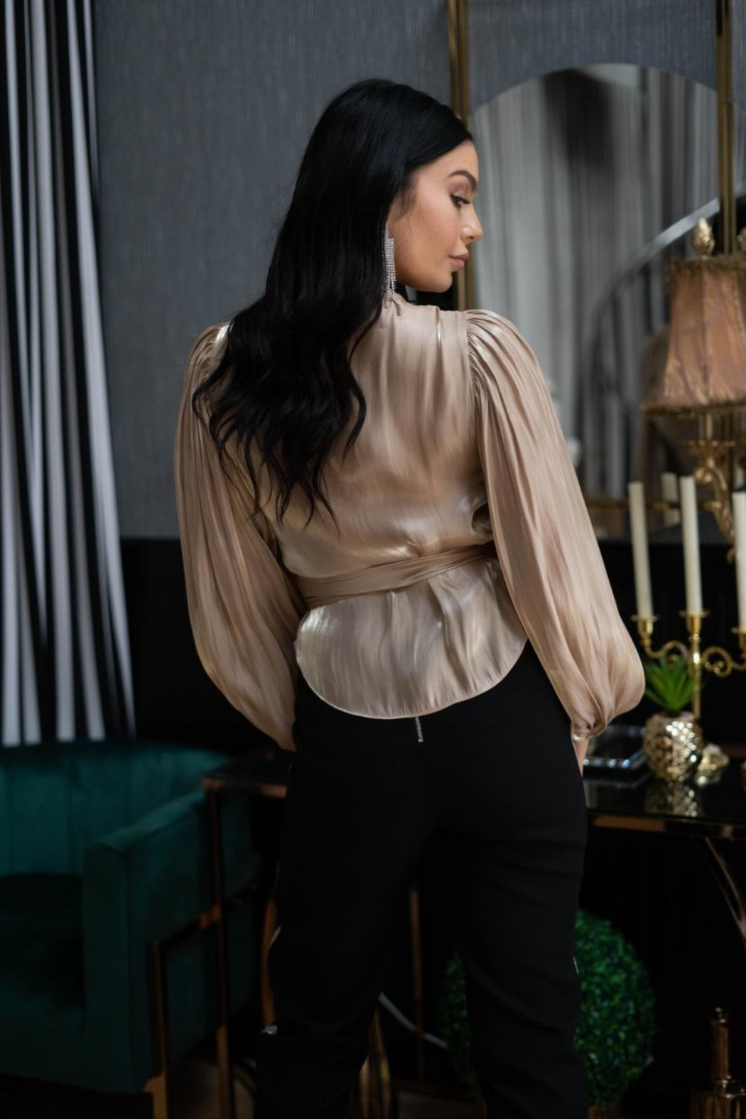A Peach Gold Wrap Top - Side Cropped Image