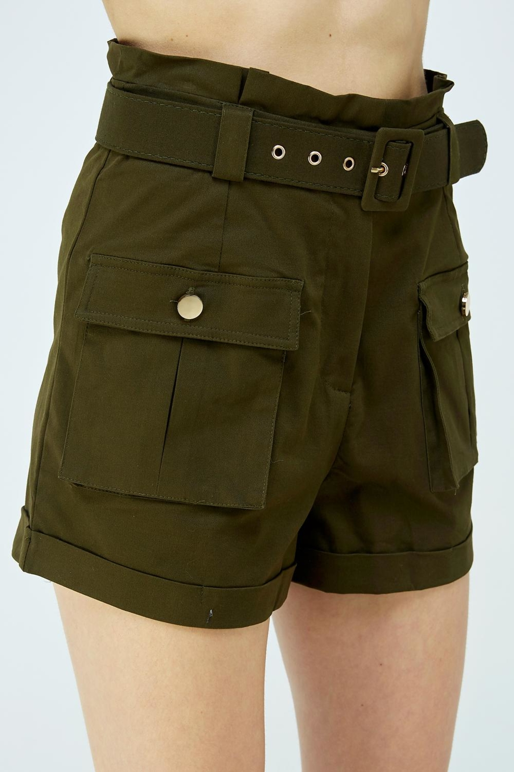 A Peach Green Cargo Shorts - Back Cropped Image