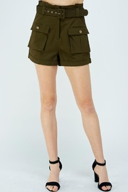 A Peach Green Cargo Shorts - Front cropped