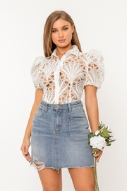 A Peach Guipure Lace Top - Front cropped