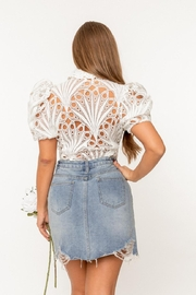 A Peach Guipure Lace Top - Side cropped