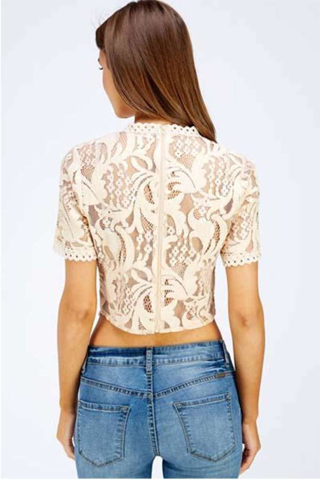 A Peach Lace Crop Top - Side Cropped Image