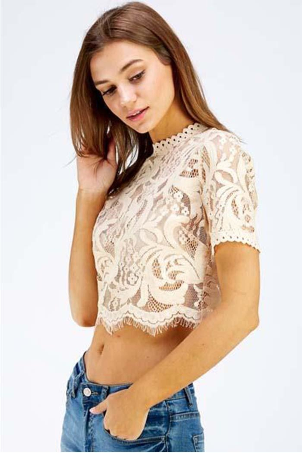 A Peach Lace Crop Top - Front Cropped Image