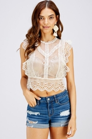 A Peach Lace Crop Top - Front cropped