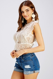 A Peach Lace Crop Top - Side cropped
