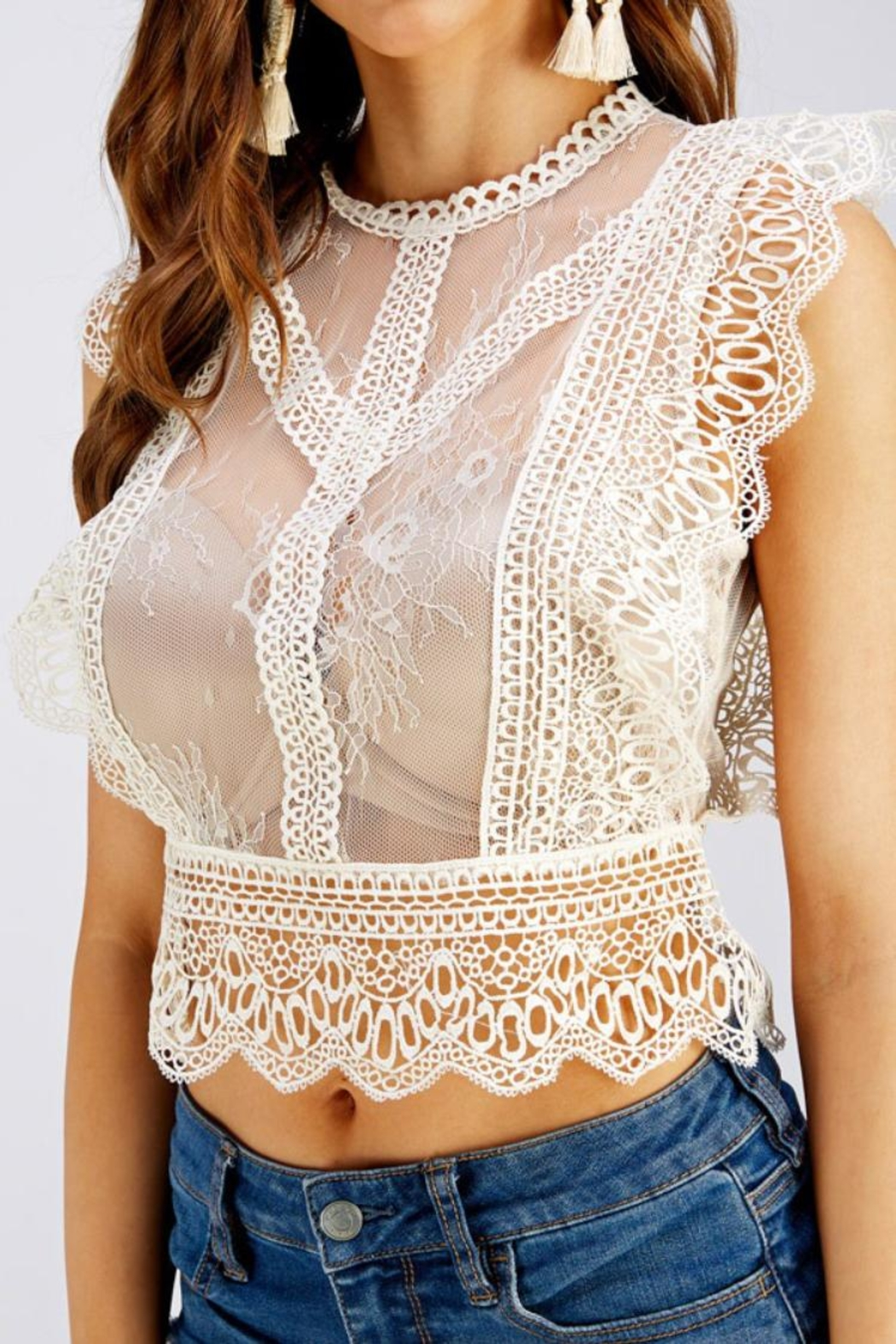 A Peach Lace Crop Top - Front Full Image