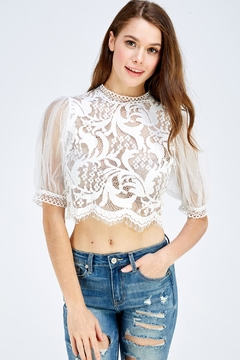 A Peach Lace Mesh Top - Product List Image