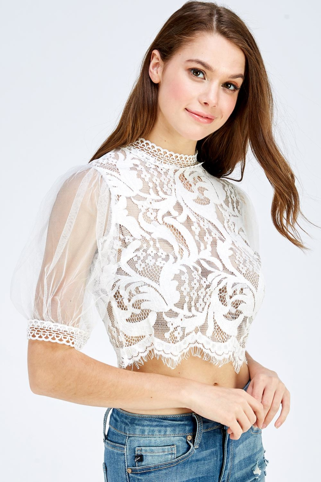 A Peach Lace Mesh Top - Side Cropped Image