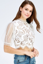 A Peach Lace Mesh Top - Side cropped