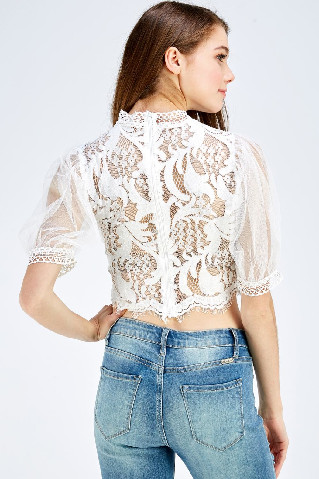 A Peach Lace Mesh Top - Back Cropped Image