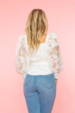 A Peach Lace Sleeve Top - Alternate List Image