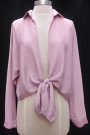 A Peach Lavender Front-Tie Blouse - Product Mini Image