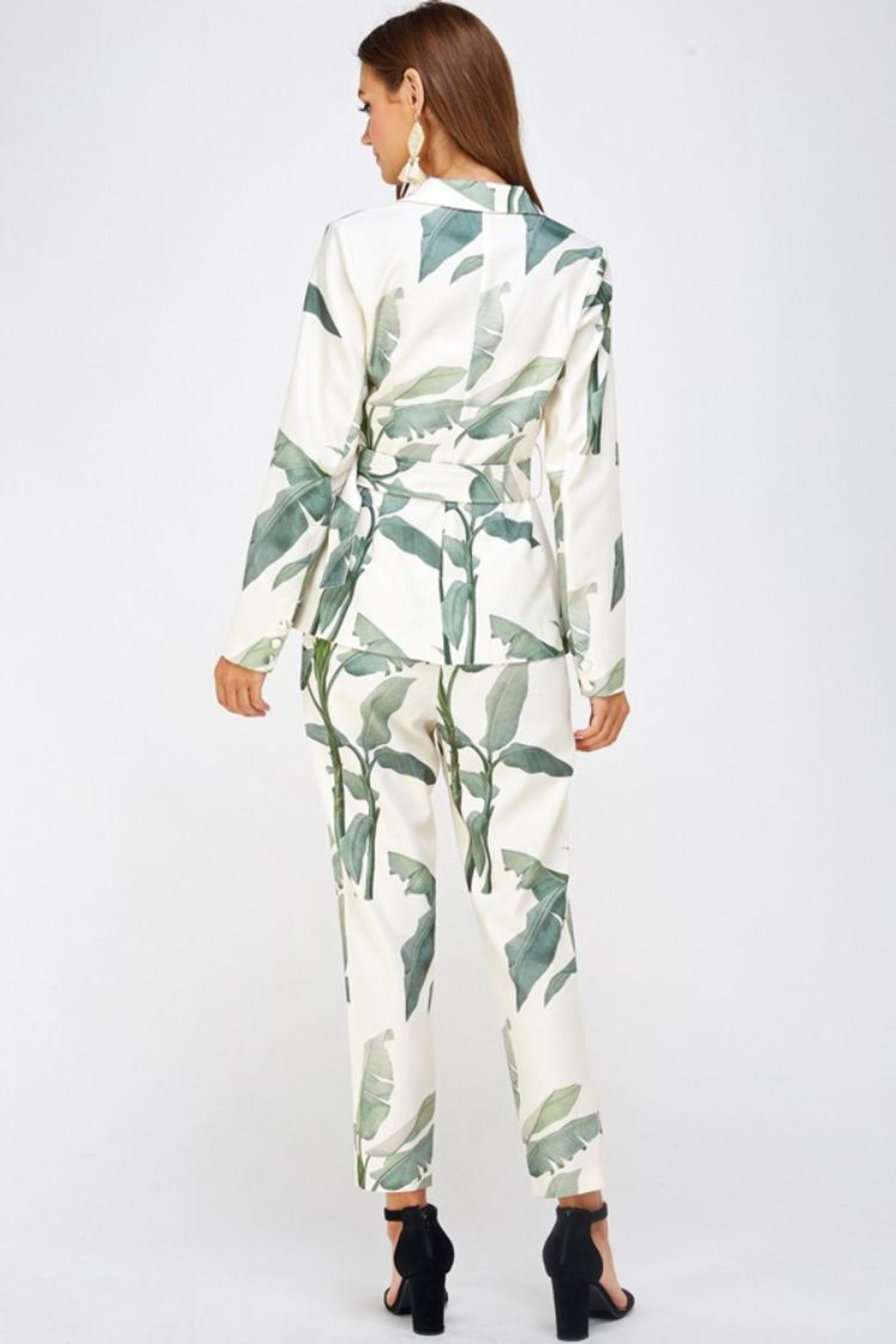 A Peach Leaf Print Pant-Set - Side Cropped Image
