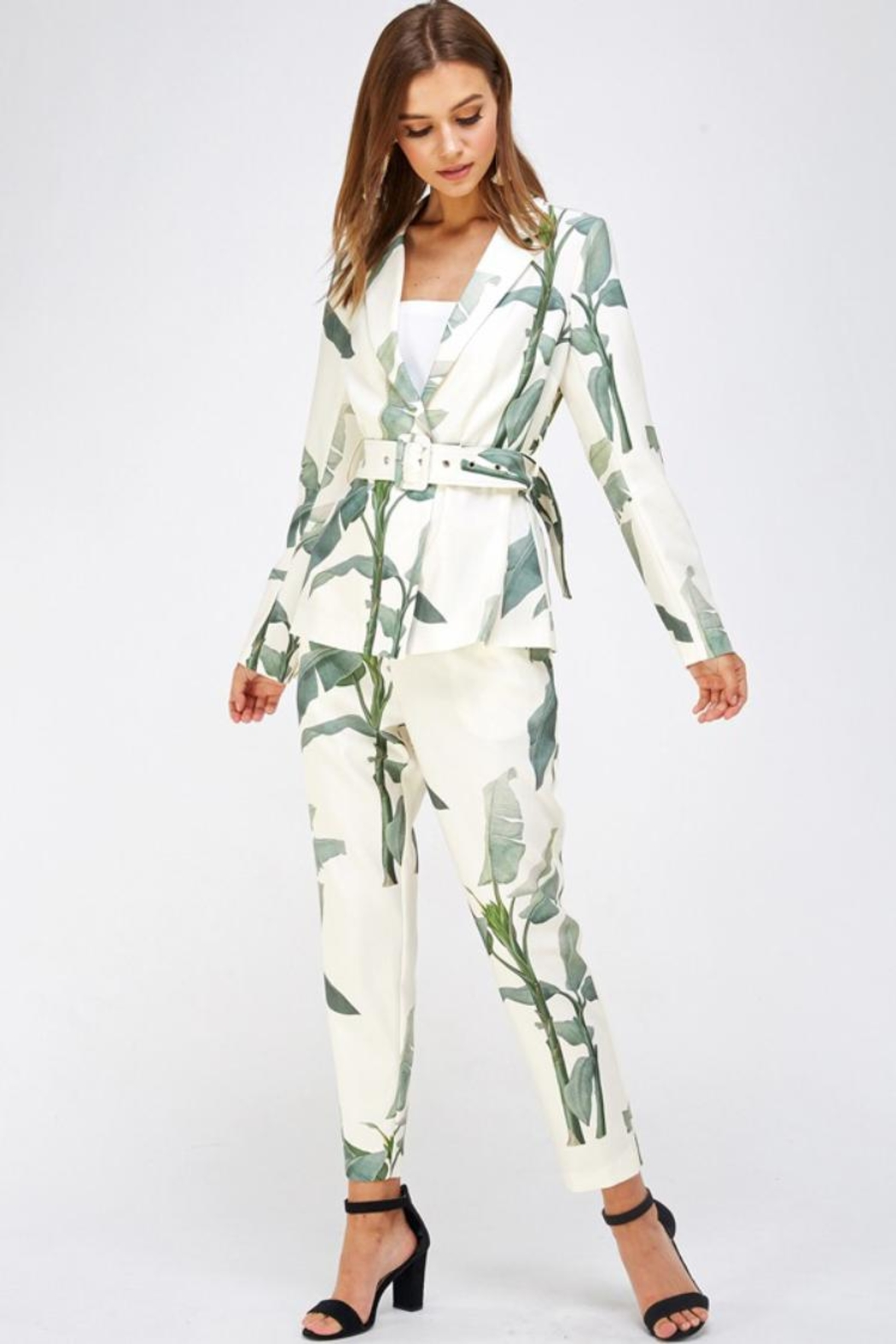 A Peach Leaf Print Pant-Set - Main Image