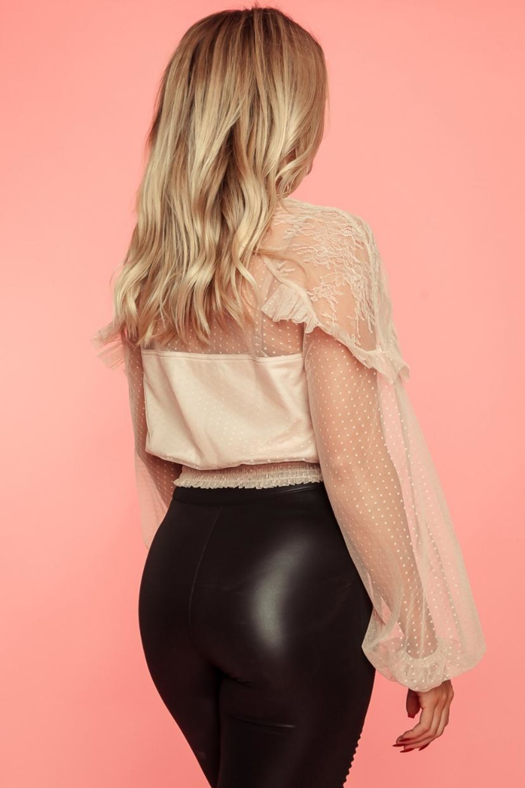 A Peach Long-Sleeve Lace Top - Side Cropped Image