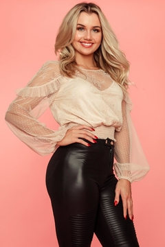 A Peach Long-Sleeve Lace Top - Product List Image