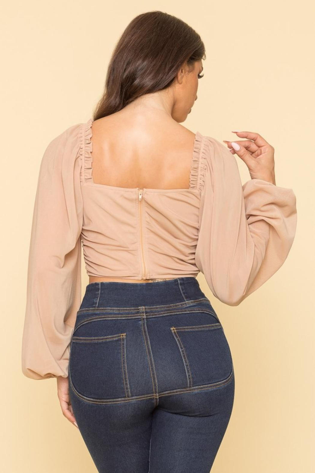 A Peach Mesh Corset Top - Side Cropped Image