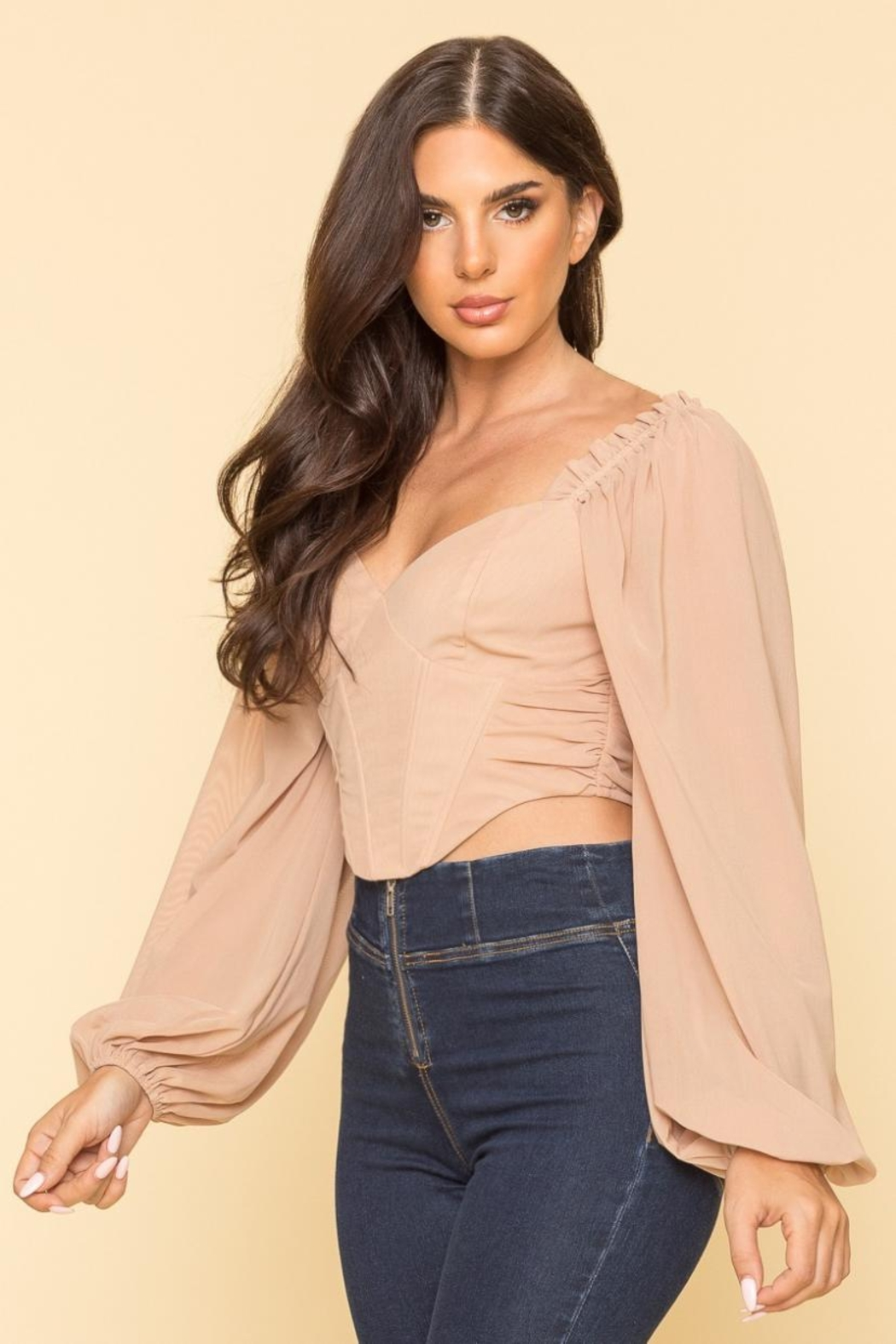A Peach Mesh Corset Top - Front Full Image
