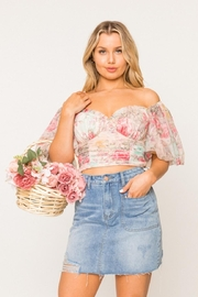 A Peach Off-Shoulder Floral Top - Front cropped