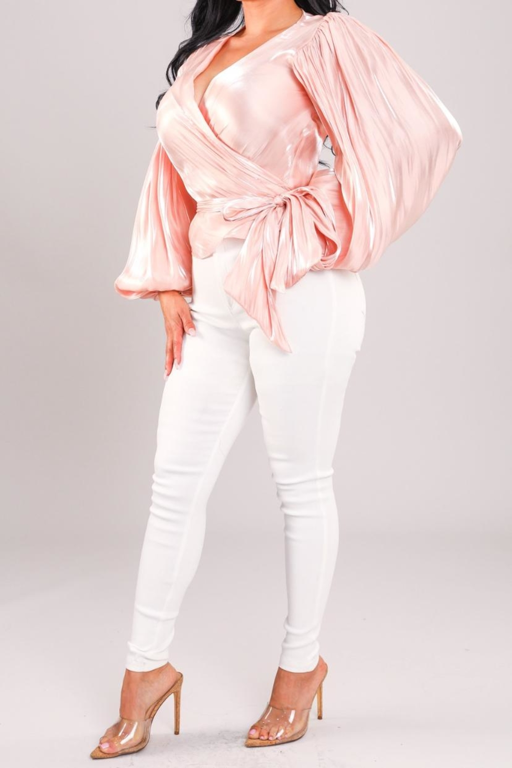 A Peach Pink Wrap Top - Side Cropped Image