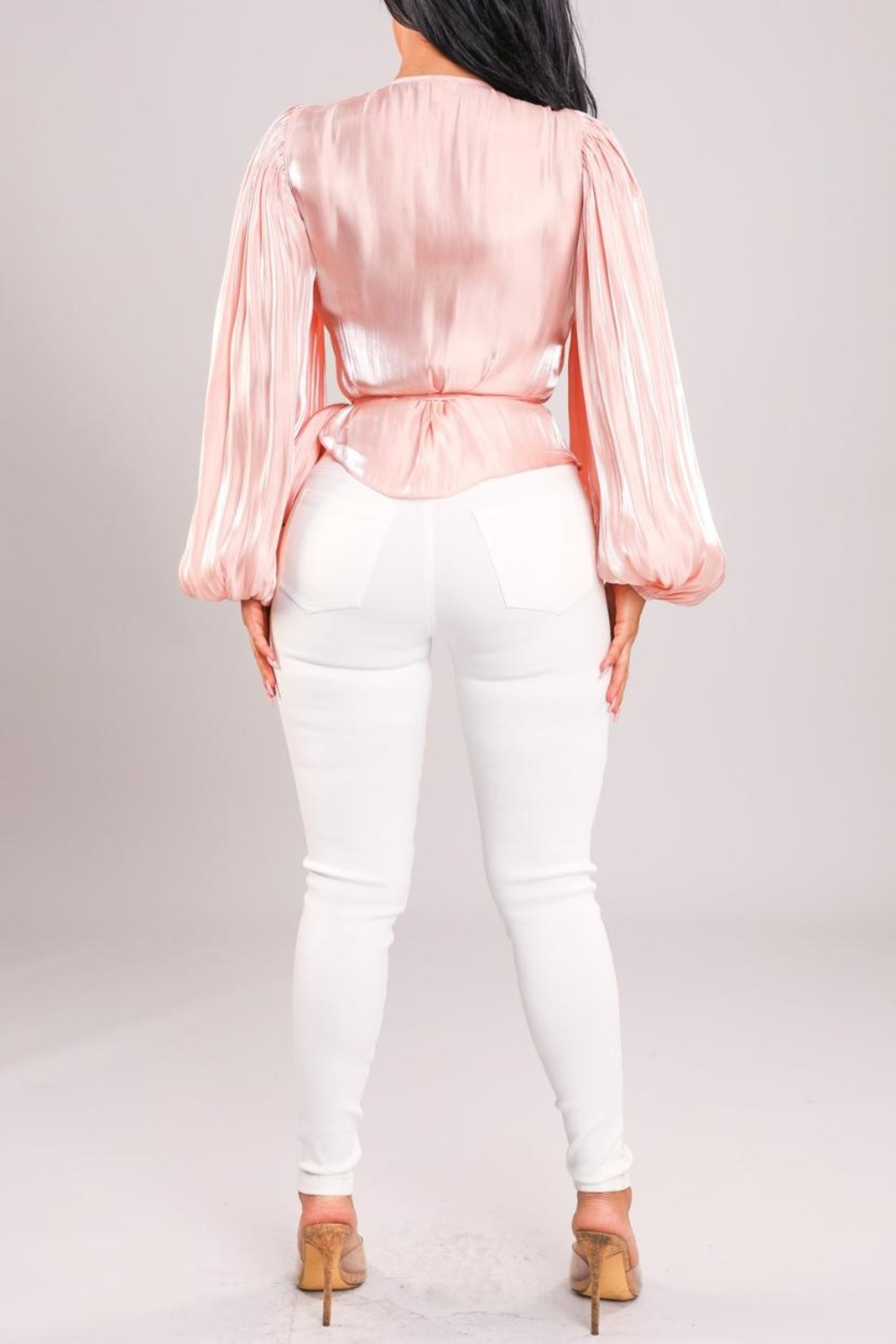 A Peach Pink Wrap Top - Back Cropped Image