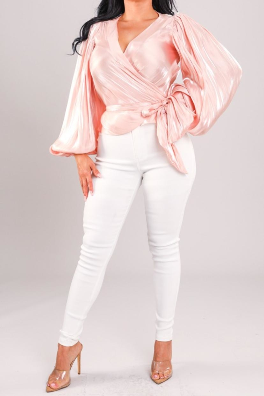 A Peach Pink Wrap Top - Front Full Image
