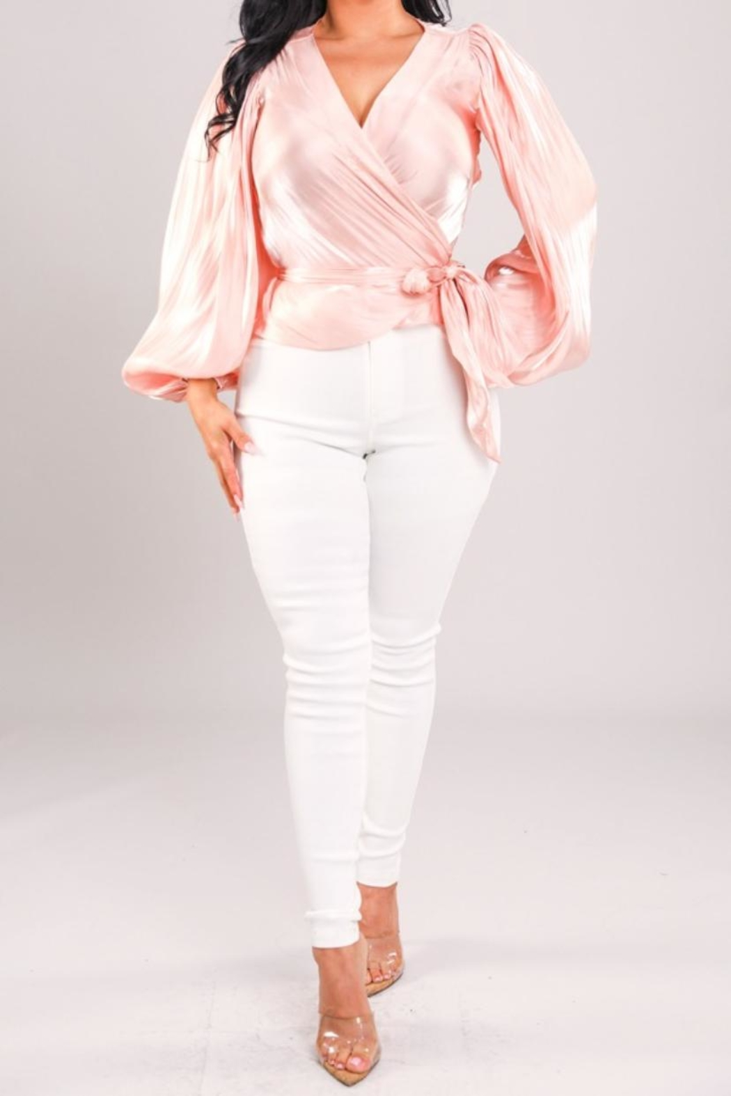 A Peach Pink Wrap Top - Main Image