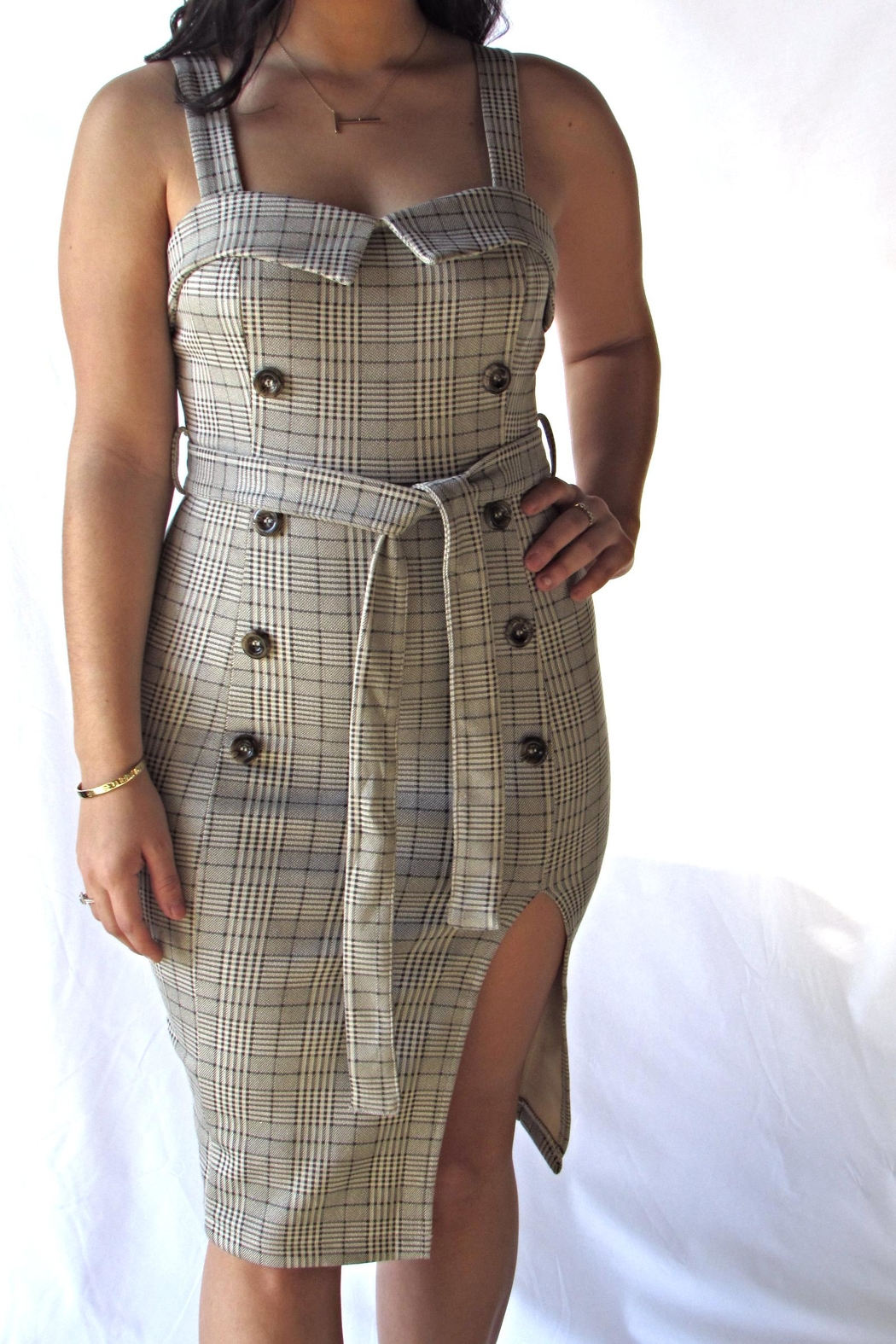 A Peach Plaid Button Dress - Front Cropped Image