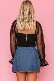 A Peach Pleated Mesh Top - Side cropped