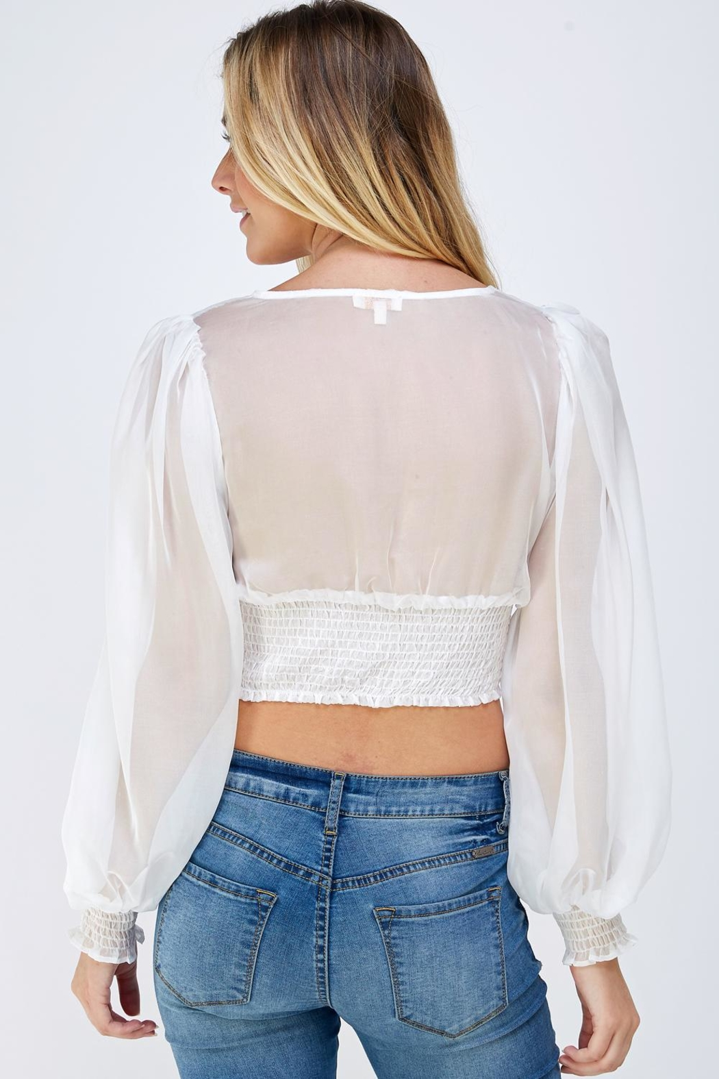 A Peach Sheer Back Blouse - Back Cropped Image