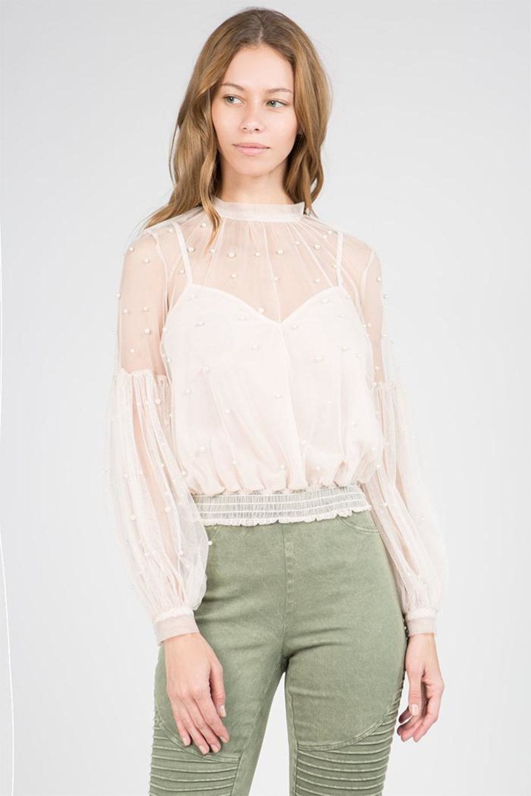 A Peach Sheer Pearl Blouse - Front Cropped Image