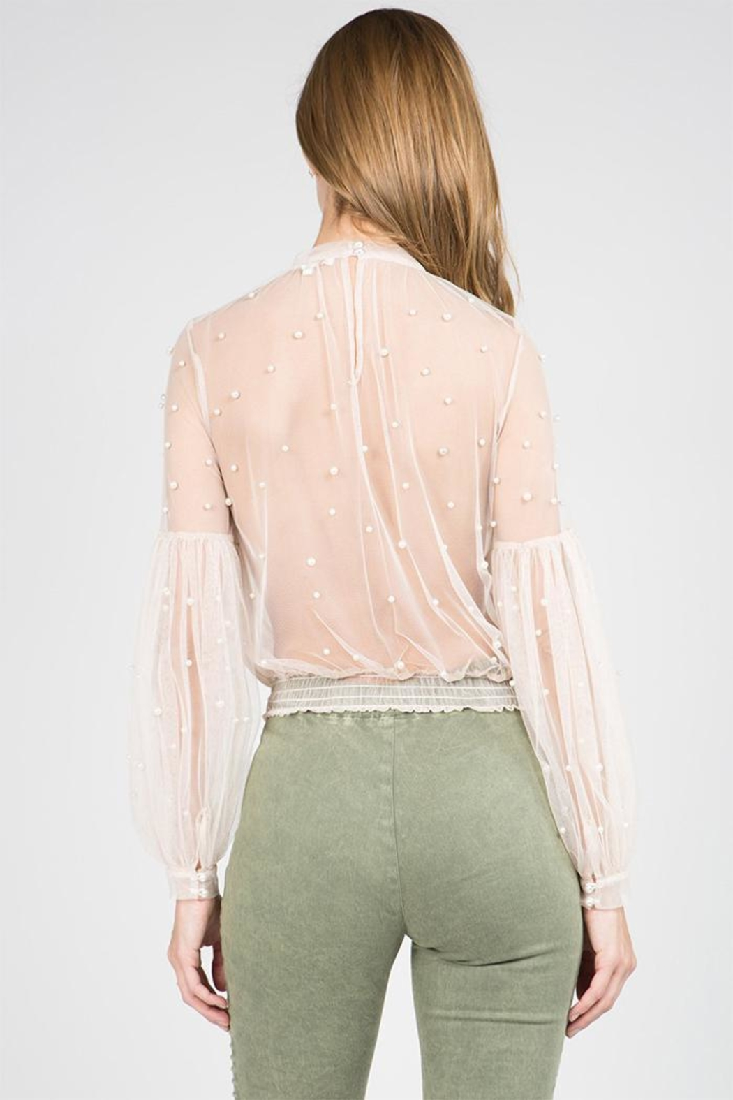 A Peach Sheer Pearl Blouse - Front Full Image