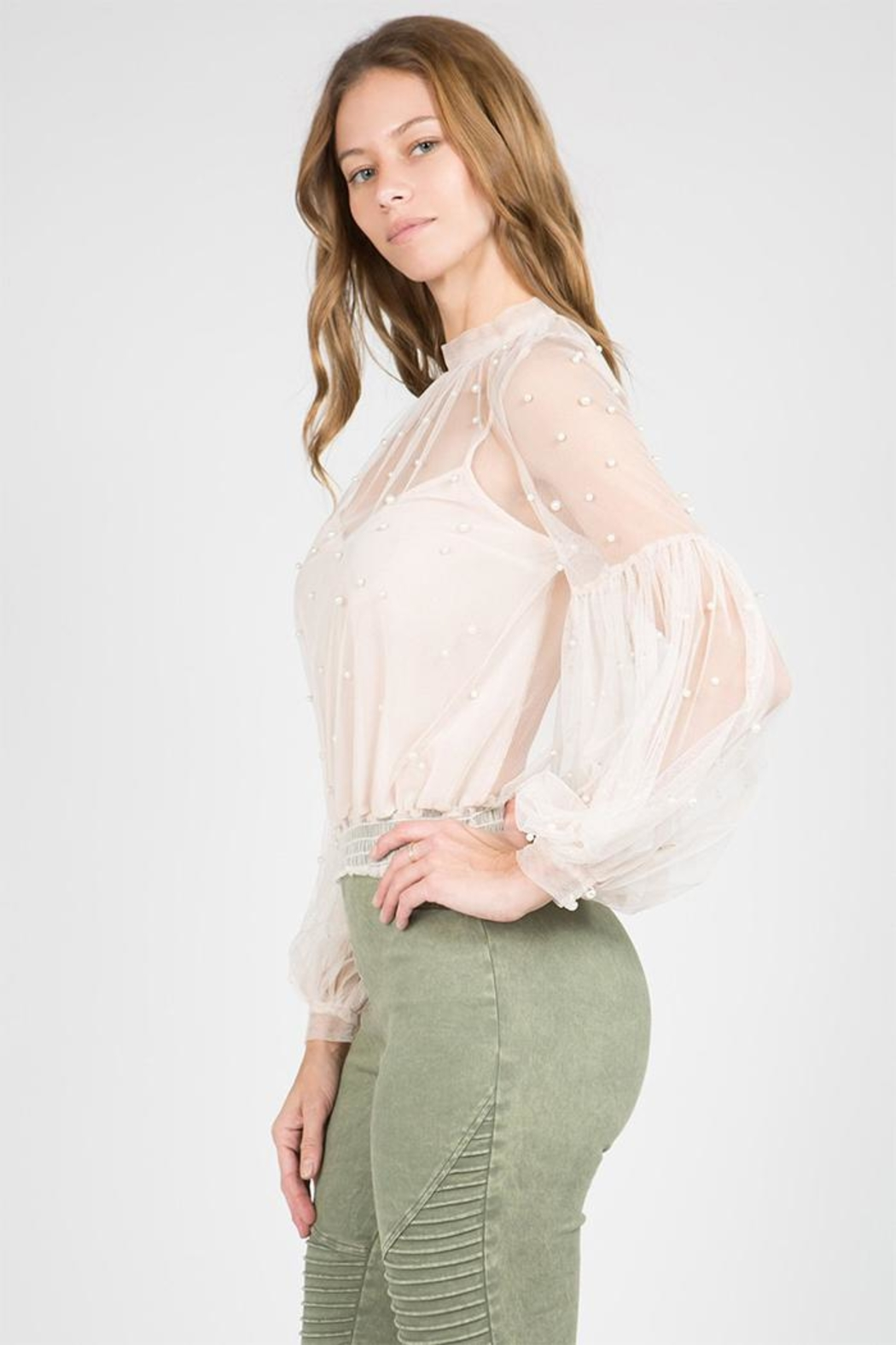 A Peach Sheer Pearl Blouse - Side Cropped Image